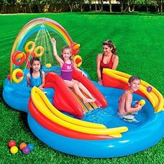 Intex Kids Backyard Fun Play Pool Volleyball Game Slide Inflatable Center Sum... Spielzeug für draußen