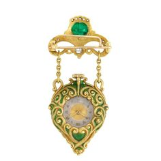 Arts and Crafts Gold, Cabochon Emerald, Diamond and Green Enamel Lapel-Watch, Marcus & Co.
