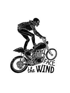Black'n'White by Ooli Mos, via Behance #illustration #design #motorcycles #motos | caferacerpasion.com