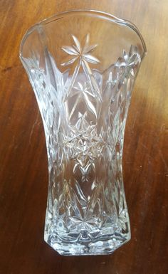 EAPG star of david anchor hocking crystal clear prescut flared flower vase with a scalloped rim and very heavy by craftycreationsbycw on Etsy