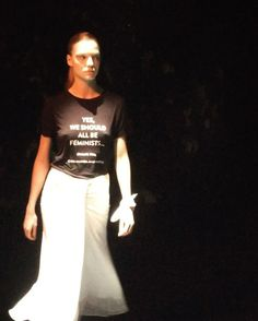 #ELLEshowtime #프라발구룽 쇼 피날레를 위해 모델들은 레터링 티셔츠로 갈아 입었죠. #존레논 의 #IMAZINE 이 흘러나오는 무대엔 #벨라하디드 가 입은 'THE FUTURE IS FEMALE'을 시작으로 #페미니즘 에 관한 메시지의 행렬이 이어졌습니다. #여성 을 위해 목소리를 높인 프라발을 향해 힘찬 박수를! @prabalgurung @bellahadid  via ELLE KOREA MAGAZINE OFFICIAL INSTAGRAM - Fashion Campaigns  Haute Couture  Advertising  Editorial Photography  Magazine Cover Designs  Supermodels  Runway Models