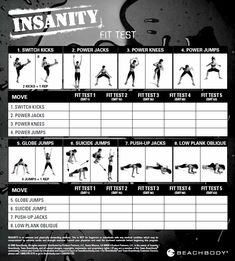 Insanity Fit Test - Printable