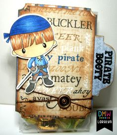 Hi Crafty Friends, It's my turn to post for Digi My World . I've made this cute little treat bag using Ahoy Pirates (William) . Treat Bags, Digital Stamps, My World, Ava, Pirates, My Heart, Cool Designs, Card Making, Paper Crafts