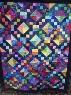 Perfect Quilt Block for Asian Inspired Fabric! Batik Quilts, Lap Quilts, Strip Quilts, Scrappy Quilts, Quilt Blocks, Bright Quilts, Purple Quilts, Quilting Tutorials, Quilting Designs