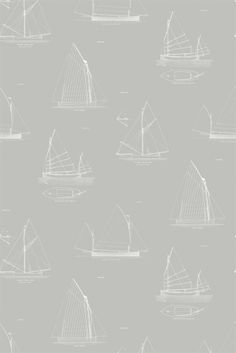 Cromarty Wallpaper A nautical themed wallpaper featuring line drawings of historical sailing craft in white on a pale background.