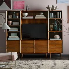Mid-Century Media 6-Piece Set - Acorn - I love how the shelves are styled and love the pictures around it. The picture in the catalog is bigger and shows more of the room....I love the blush paint color too!