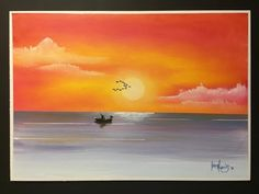 How to paint a golden sunset in acrylic - YouTube
