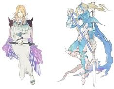 Rosa & Holy Kain (I don't know who the FFIV:AY artist was, but I love this style. Must study closely. o.o)