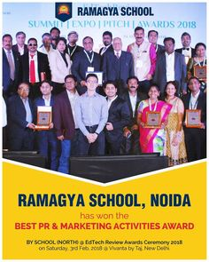 "We are glad to inform that ""Ramagya School, Noida"" has been awarded for the Best PR & Marketing Activities by School (North) at EdTech Review Awards Ceremony 2018 on Saturday, 3rd Feb, 2018 at Vivanta by Taj, New Delhi."