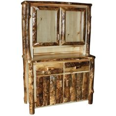 Amish Hutches   Amish Rustic Aspen Log Hutch ($1,260) ❤ liked on Polyvore featuring home, furniture, handcrafted log furniture, dovetail furniture, aspen furniture, aspen home furniture and hand made furniture