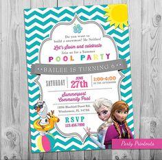 Frozen Pool Party Invitation Printable Frozen by partyprintouts