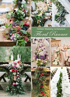 The Hottest Trend In Centerpieces: Floral Runner. This is one trend we are expecting to see a lot of through 2015! #WeddingCenterpieces