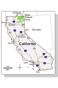 A map showing the location of the Modoc National Forest in northeastern California