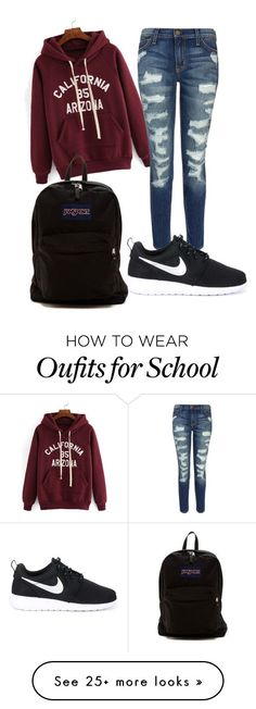 """school outfit"" by babekim on Polyvore featuring Current/Elliott, NIKE and…"