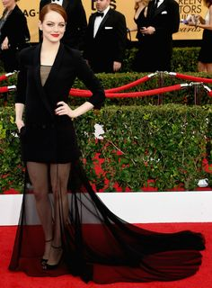 Emma Stone in Dior Haute Couture at the 2015 SAG Awards Emma Stone, Dior Haute Couture, Couture 2015, Celebrity Red Carpet, Celebrity Style, Vestidos Valentino, Dior Gown, Look Star, Best Gowns