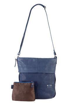 Frauentaschen :: UNICORN :: U12 | ZWEI Taschen Ledertasche :: blau :: Leder :: crossbody :: jeansblau