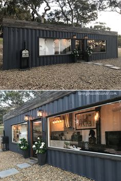Tiny Container House, Building A Container Home, Container Buildings, Container Shop, Tiny House Cabin, Tiny House Living, Tiny House Plans, Shipping Container Home Designs, Shipping Containers