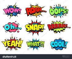 Set Comic Text Pop Art Style Stock-Vektorgrafik (Lizenzfrei) 198890603 Comic book sound effect speech bubbles, marveling and enjoying expressions Captain America Comic, Comic Book Font, Comic Books, Comic Book Style Art, Bullet Journal Themes, Bullet Journal Inspiration, Letras Comic, Comic Book Bubble, Comic Text