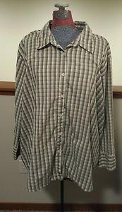 Women's Plus Size 4X 26W 28W NorthCrest Plaid Long Sleeve Button Down Shirt EUC #PlusSize #4X
