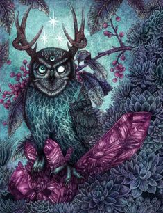 Gothic stag owl with a third eye. Created by Angela Rizza. Art And Illustration, Illustrations, Fantasy Kunst, Fantasy Art, Hipster, Design Graphique, Night Owl, Owl Art, Freelance Illustrator