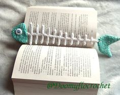 Fish textile crocheted bookmark