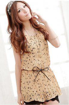 Popular Star Printed Sleeveless Pleated Blouse Apricot With Belt Korean Blouse, Korean Fashion Online, Line Shopping, Plus Size Shirts, Star Print, My Outfit, Shirt Blouses, Asian, Fashion Outfits