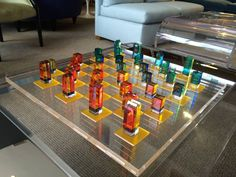 Charles Hollis Jones Lucite Chess Set with Original Nickel Stand, Signed | From a unique collection of antique and modern games at https://www.1stdibs.com/furniture/more-furniture-collectibles/games/