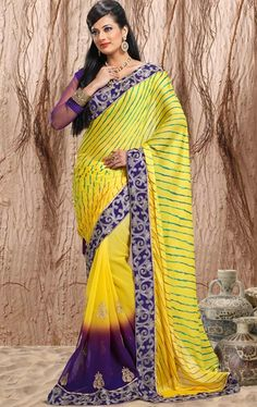 Picture of Awesome Yellow color Designer Party Wear Saree