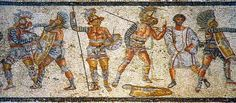 Mosaic of gladiators preparing for their appearance in the arena