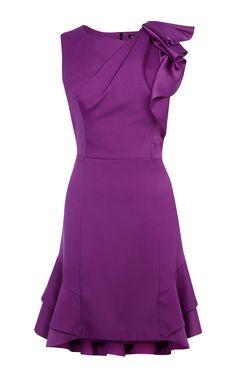 Karen Millen, RUFFLE MINI DRESS Purple