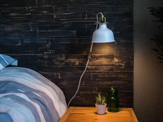 """Great for a masculine look or a teenage bedroom - MyWoodwall """"Deep Space"""" Peel & Stick wood wall panels Easy to install Stick On Wood Wall, Peel And Stick Wood, Wood Panel Walls, Wood Paneling, Wall Outlets, Deep Space, Easy Install, Real Wood, Montage"""