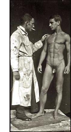 Karl Geiser, Sculptor, with Model [1930s].