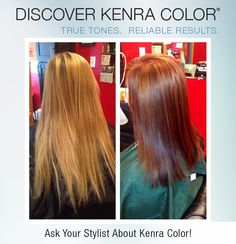 "Stylist Kara Scott's formula: First process: Retouch with Kenra Color Permanent 8CG + 30vol. Filled previously lightened hair with Kenra Color Demi Permanent 1oz 8C + 1/2oz 8G. Second process: At nape, triangle at crown and triangle at sides (1"" from center part, 1"" from hairline, 2"" above ear), applied 1/4"" alternating diagonal slices of Kenra Demi Permanent (formula 1) 1 1/4oz 6RC + 1/4oz 7B, (formula 2) 1/2oz 7CG + 1/2 oz 6C and (formula 3) 1oz 7CG. Applied formula 1 to remaining hair."