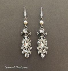 vintage inspired bridal earrings, wedding jewelry, crystal earrings, chandelier earrings, wedding earrings, wedding accessory. $59.00, via Etsy.