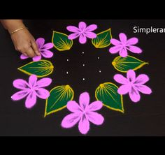 Semple Flower Rangoli Designs With 7 dots for Diwali Simple Flower Rangoli, Rangoli Designs Flower, Rangoli Ideas, Rangoli Designs Diwali, Rangoli Designs Images, Rangoli Designs With Dots, Rangoli With Dots, Beautiful Rangoli Designs, Easy Rangoli