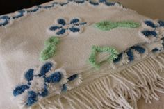 Vintage Chenille Bedspread  Beach Cottage  New by catnapcottage