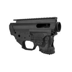 is a dedicated GLOCK® magazine fed matched lower & upper receiver set. skull design and includes LRBHO. Ar Upper Receiver, Countries And Flags, Ar Pistol, Skull Design, Our Country, Firearms, Hand Guns, Iron, Boom Boom