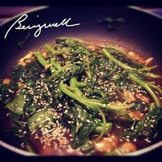 Cooking Stir-fried Spinach with Sesame Seeds #cookwithsesame, #sesameseeds, #spinachandsesame