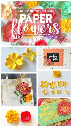 3 different ways to make paper flowers a girl and a glue gun