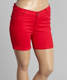 This Red Twill Snap-Pocket Shorts - Plus by 1826 Jeans is perfect! #zulilyfinds