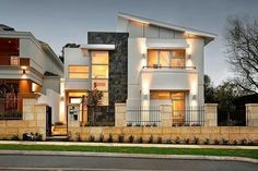 Modern One Story House with 2 bedrooms, 2 bathrooms suitable for small family to medium size house designed in Modern House style resort. The emphasis is on the modern style and the layout of the home [. Flat Roof House Designs, Modern Exterior House Designs, Small House Design, Exterior Design, Facade Design, Design Home Plans, Home Design, Design Ideas, Urban Design