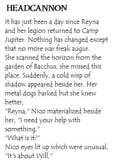 Heroes of Olympus Headcannon. Nico asks something from Reyna. #Solangelo