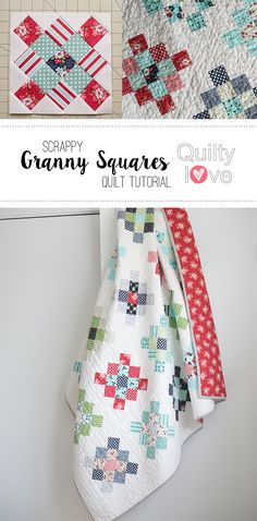 Quilty Love | Scrappy Granny Squares Quilt Tutorial | http://www.quiltylove.com-- Free tutorial from QuiltyLove to make a scrappy Granny Squares quilt. Use a jelly roll to make this scrappy quilt.
