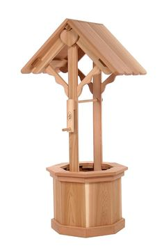 Wishing Well - All Things Cedar with a functional crank, our Handcrafted Wishing Well's add extra charm to any garden or yard space, and provide plenty of tub space for bedding plants and hanging Features: Rot resistant untr Wishing Well Plans, Large Backyard Landscaping, Backyard Ideas, Rock Landscaping, Garden Ideas, Adirondack Chair Plans, Tall Planters, Western Red Cedar, Roof Design