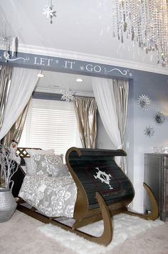 Taylor Interior Designs designed this kids room. You could easily incorporate it into your own design using the sleigh bed and wall art. & Frozen Kidsu0027 Rm: queen canopy Elsa bed u0026 Anna twin sleigh bed ...