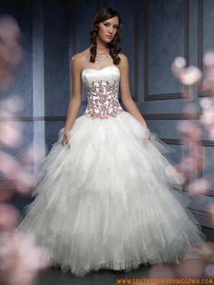 Corset Tulle Ball Gown Wedding Dresses Applique Decorat...