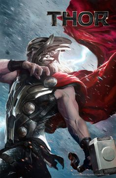 Thor by Alexander Lozano - As the Norse God of thunder and lightning, Thor wields one of the greatest weapons ever made, the enchanted hammer Mjolnir. While others have described Thor as an over-muscled, oafish imbecile, he's quite smart and compassionate. He's self-assured, and he would never, ever stop fighting for a worthwhile cause