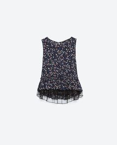 TOP WITH FRILLED HEM from Zara