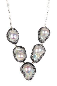 20-25mm Baroque Pearl Swarovski Crystal & Hematite Five Stone 5th Avenue Necklace