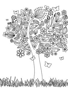 Coloring Page World - Tree coloring page with flowers and butterflies